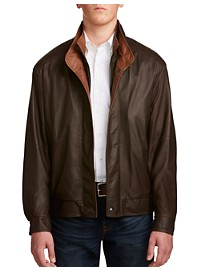 Remy Double-Collar Banded-Bottom Leather Bomber Jacket