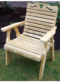 Creekvine Designs Treated Pine Crossback Chair with Hearts