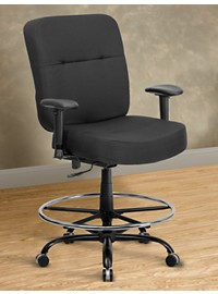Hercules Extra-Wide Fabric Drafting Chair with Arms – Square Back