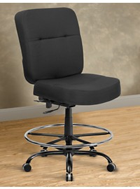 Hercules Extra-Wide Fabric Drafting Chair – Square Back