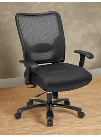 Office Star SPACE Mesh Big & Tall Office Chair with Leather Seat