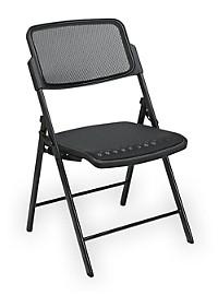 Office Star Deluxe ProGrid Mesh Folding Chair – Black/Black (2 Pack)
